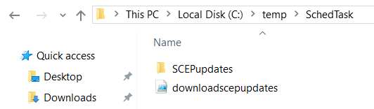 Quick access Desktop Downloads > ThisPC Local Disk(C:) temp > SchedTask Name SCEPupdates downloadscepupdates